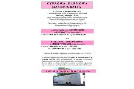 Cyfrowa, darmowa mammografia